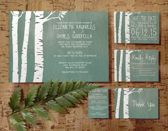 Country Birch Tree Wedding Invitation Set/Suite, Printed/Printable Wedding…