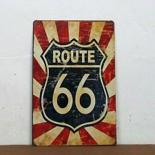 "Tin Sign 30x20cm ""ROUTE 66 "" Old Vintage Style For Decoration Home Wall ."