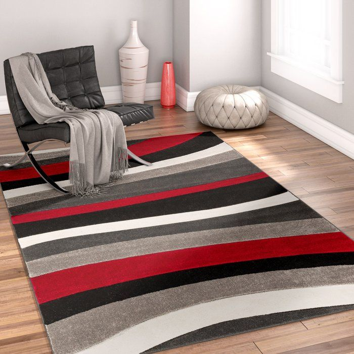 Rad Wave Red Gray Black Area Rug Office Area Rugs