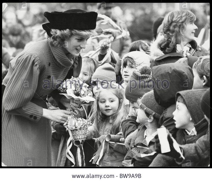 January 30, 1986:  Princess Diana talking to school children outside The Ridgeway House Retirement Home For the Elderly, Towcester, Northampton.