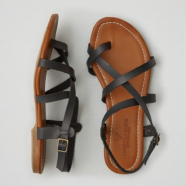 AEO Strappy Sandals (£13) ❤ liked on Polyvore featuring shoes, sandals, black, black strap shoes, american eagle outfitters, black sandals, black strappy sandals and strap shoes