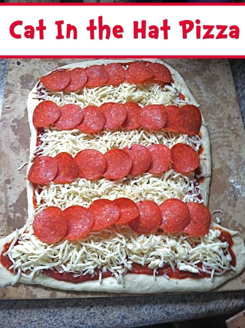 Cat in the Hat Pizza for a Dr. Seuss Party. Could make it a snowman with just cheese pizza