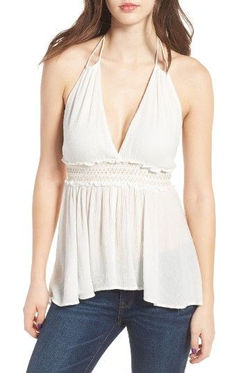 Free shipping and returns on Sun & Shadow Metallic Smocked Halter Top at Nordstrom.com. Metallic stitching gilds the smocked waistband of this ethereal ivory tank with a summer-ready open back and a softly shirred hem.