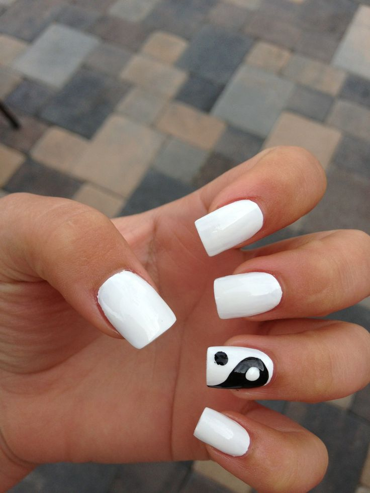 370 best nail art images on pinterest nail scissors cute i would do it with black instead of white yin and yang nail art prinsesfo Image collections
