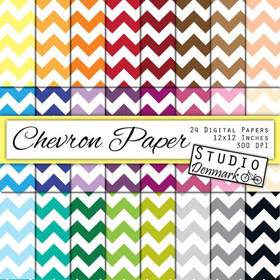 Chevron Digital Paper - 24 Colors - 12in x 12in 300 dpi jpg- Commercial Use - Instant Download