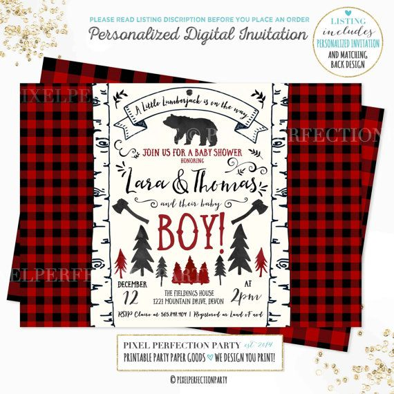 Lumberjack Baby Shower Invitation Lumberjack Baby Boy Shower Invitation Boy Baby Shower Invitation Lumberjack Red Buffalo Plaid Baby Shower