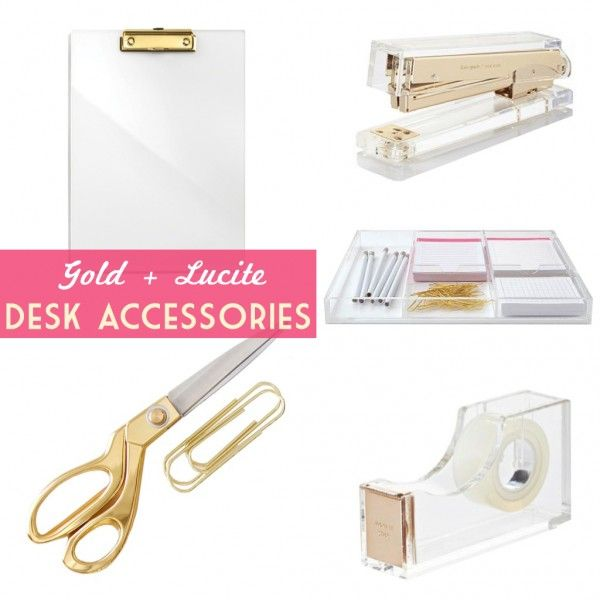KATE SPADE INSPIRED OFFICE: must-have gold and lucite #desk accessories for yourh home #workspace