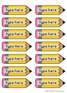 Pencil Name Tags FREE                                                                                                                                                     More