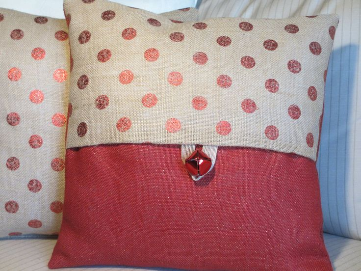 Shabby Chic Christmas Pillows : Burlap Christmas Pillow, Bell, Red Metallic Dot Burlap Decorative Throw Pillow Cover, Burlap ...