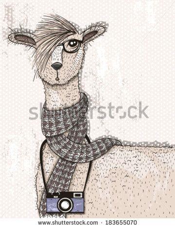 Cute hipster lama with photo camera, glasses and scarf. alpaca, alpaca, alpaca…