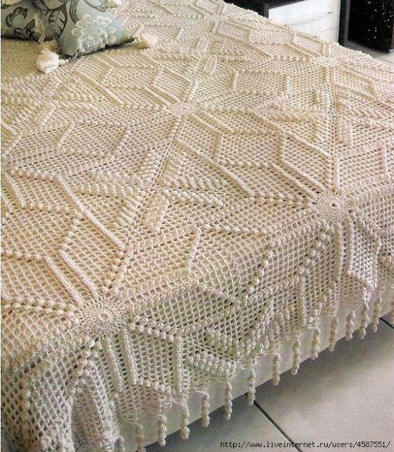 ☆ ★ ✭  Colcha Crochê Motivos Ponto Pipoca -  /   ☆ ★ ✭  Bedspread Crochet Motifs Point Popcorn -