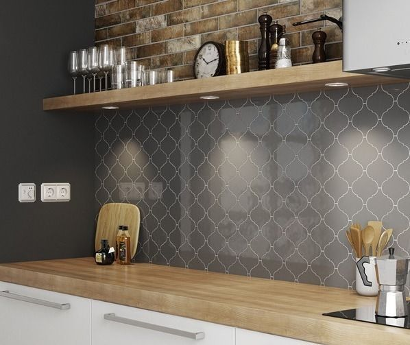 Wall Tile Equipe Scale Alhambra Dark Gray Glossy 12x12 Cm 12x12 Alhambra Dark Equipe Glossy In 2020 Grey Kitchen Wall Tiles Grey Kitchen Walls Grey Kitchen Designs