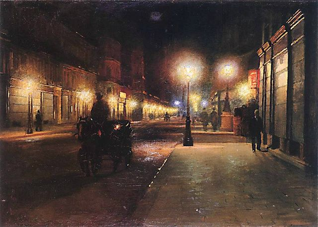 Paris Street at Night  -   Ludwik de Laveaux  1892  Polish  1868-1894
