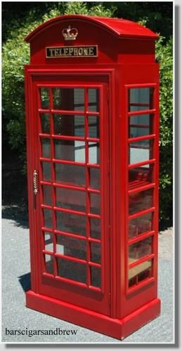 RED British PHONE Booth London WINE Old Cast Iron Furniture Cabinet England