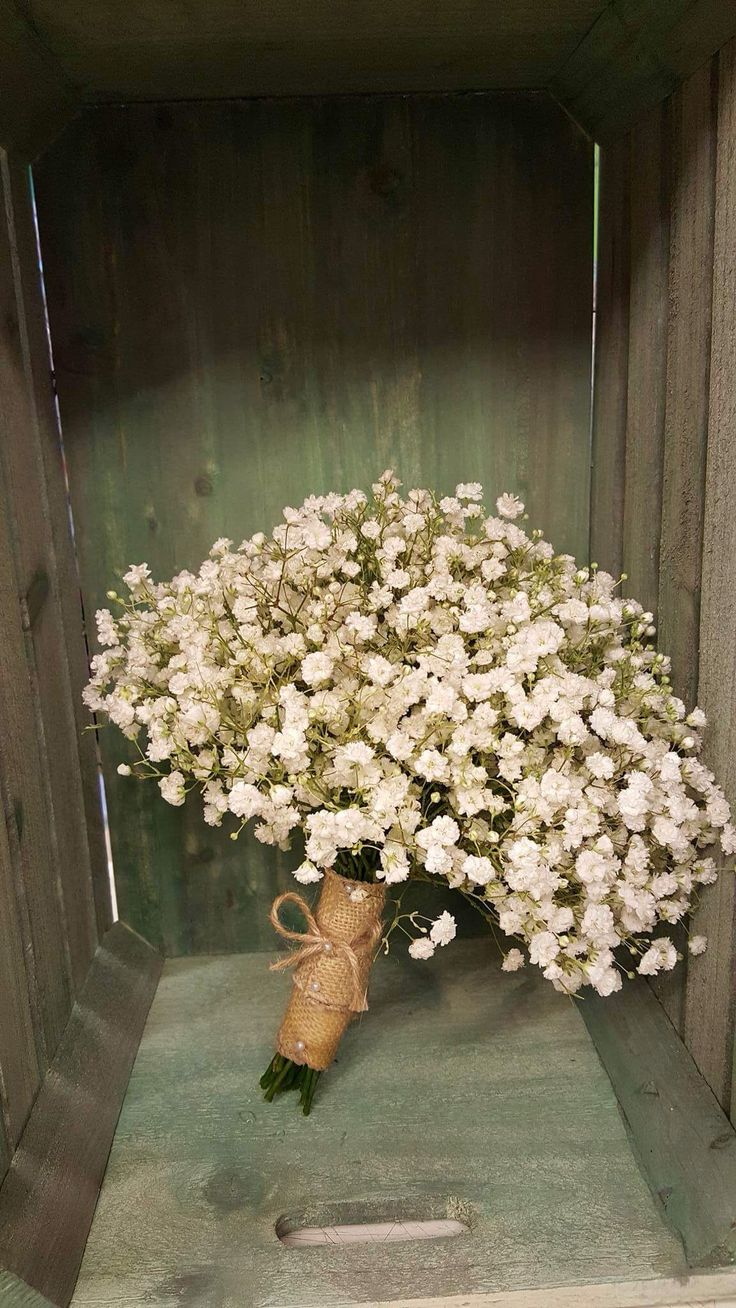 Post of gypsophila, tied with hessian and string