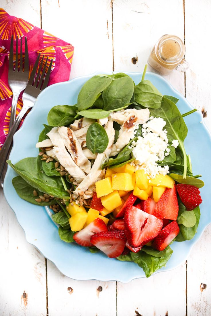 This refreshing Wendy's copycat strawberry mango chicken salad is perfect for easy summer lunches!