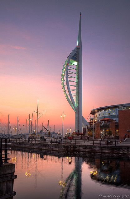 Spinnaker Tower and Gun Wharf, Portsmouth, England.