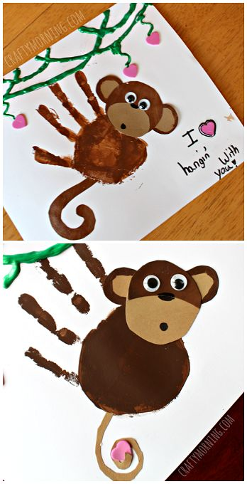 Handprint Monkey Art Project -make this as part of a jungle preschool theme or animal theme in school or home. It would be a cute card for grandparents, Mother's Day, Father's Day or even on a homemade birthday card!