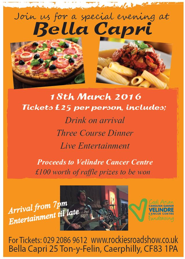 A special charity Evening at Bella Capri - for Velindre Cancer Centre listed on EventsnWales, Join us for a special evening at Bella Capri, in aid of ......