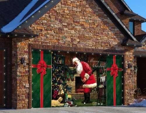 27 best garage door christmas ideas images on pinterest for Christmas garage door mural