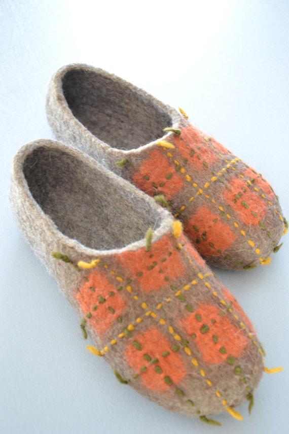 Orange and Gray Slippers Christmas Gift Felted by UrsulaShop, $74.50