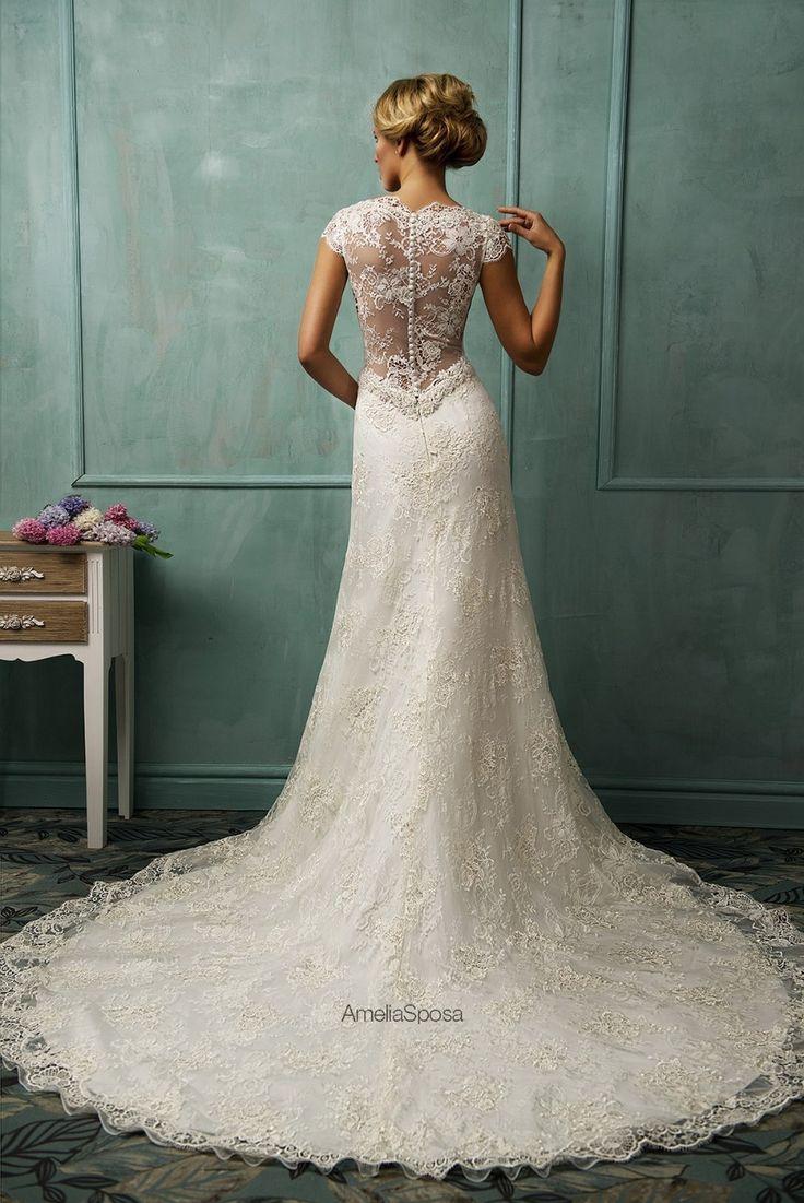 Vestido de noiva All-over Lace 2016 #WeddingDress V Neck Cap Sleeve A Line Chapel Train Sheer Back Bridal Dress Gown Custommade