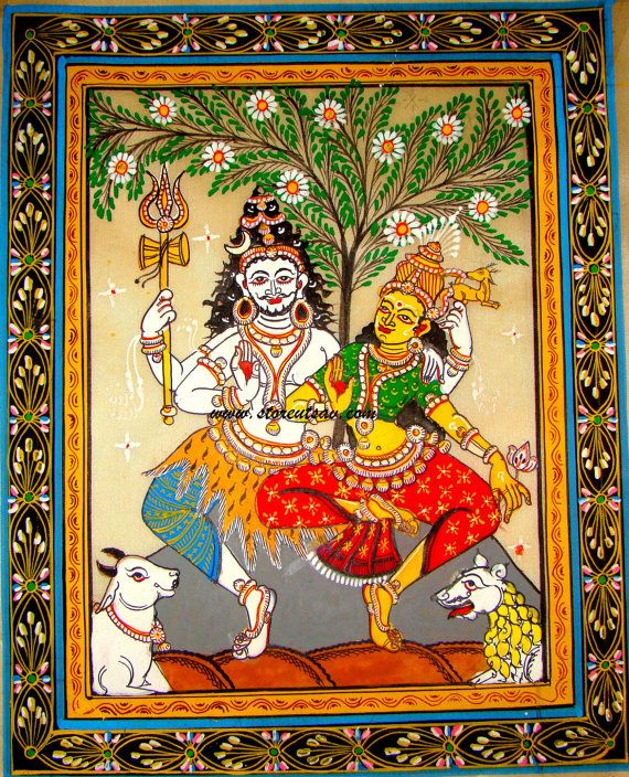 Original Painting-Patachitra on Tussar Silk-Lord Shiva & Goddess Parvati-Oriya Painting Style of East India by Store Utsav