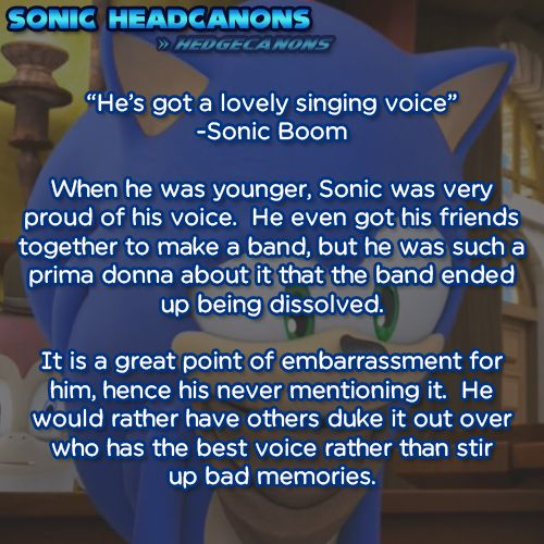 """He's got a lovely singing voice"" - Sonic Boom  When he was younger, Sonic was very proud of his voice. He even got his friends together to make a band, but he was such a prima donna about it that the band ended up being dissolved. It is a great point of embarrassment for him, hence his never mentioning it. He would rather have others duke it out over who has the best voice rather than stir up bad memories."