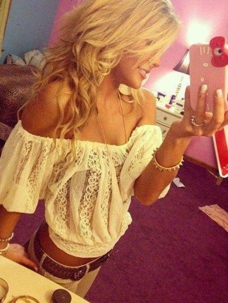 blouse, white, off the shoulder, cute, summer, fashion - Wheretoget