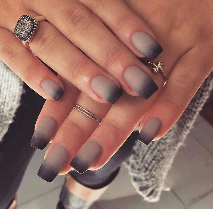 Grey And Black Ombre Matte Nail Polish Nail Designs For Short Nails Long Square Nails Large Diamond Ring C Black Ombre Nails Ombre Nail Designs Ombre Nails