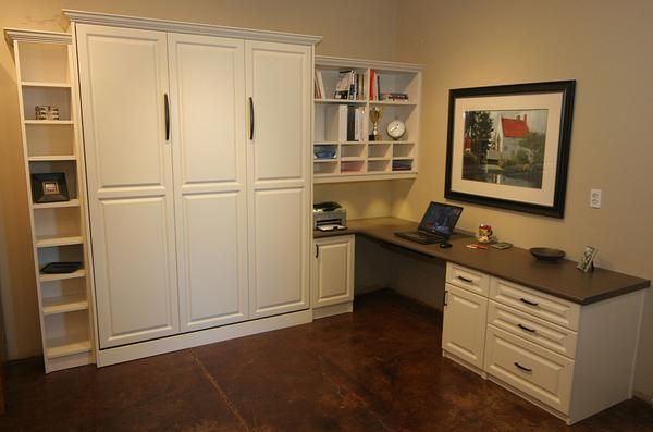 Murphy Bed and home office - great guest room idea. http://www.closet-doctor.com/murphy-beds-photo-gallery