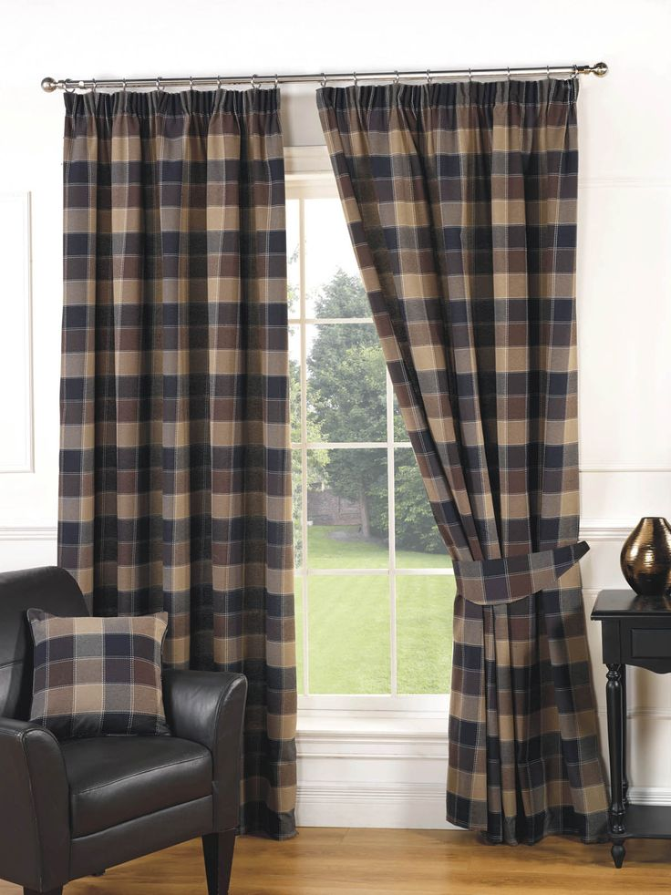 Imperial Check Ready Made Lined Curtains Natural | Pencil Pleat Curtains | Cheap UK Delivery