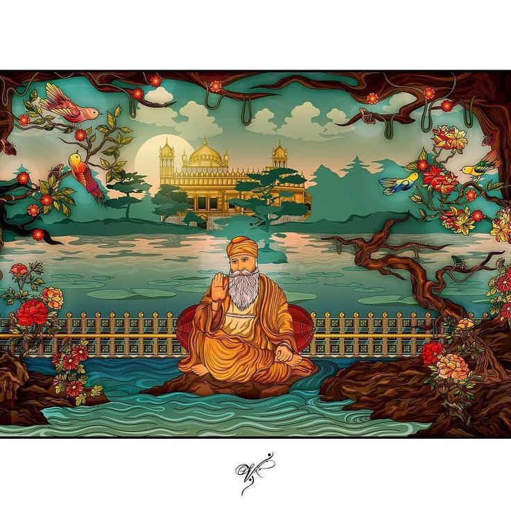 """(repost via the ultra talented @vik.kainth ) """"Guru Nanak Dev Ji   Thai-oriental rendition   By Vik Kainth - I haven't done a Sikhi related piece in a while and I needed a challenge this being probably my 5th rendition of Guru Ji lead me to really dive in with planning to create something that amongst the most beautiful  serene scene of nature I could imagine... Giving it a colour palette which lets off a warm mystical and peaceful feel. Definitely a challenging piece taking delicate time and…"""
