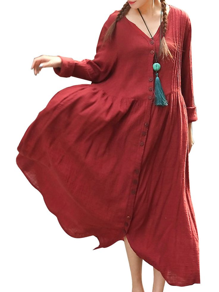 O-Newe Vintage Pure Color Button Ruffled V-Neck Maxi Dress For Women