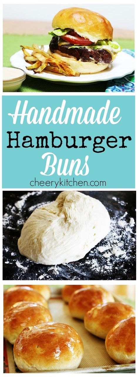 Kick your grilled burgers up a notch with Homemade Hamburger buns  that are soft and chewy, so much better than what comes out of a plastic bag! http://cheerykitchen.com/homemade-hamburger-buns/