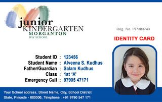 Kindergarten ID Card - Horizontal ID Card Design by Webbience ...