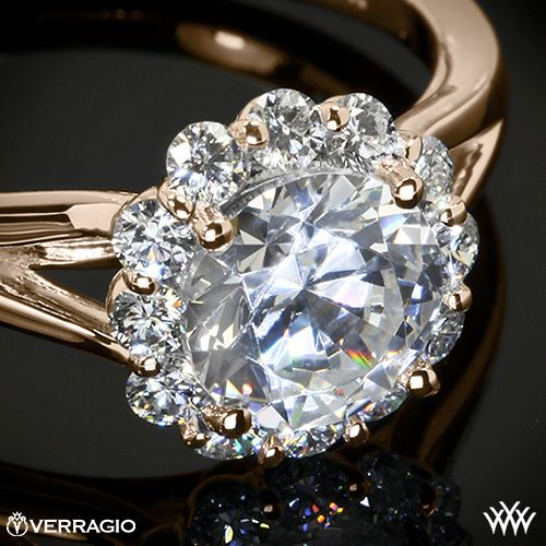 20k Rose Gold Verragio ENG 0356 Split Shank Halo Solitaire Engagement Ring