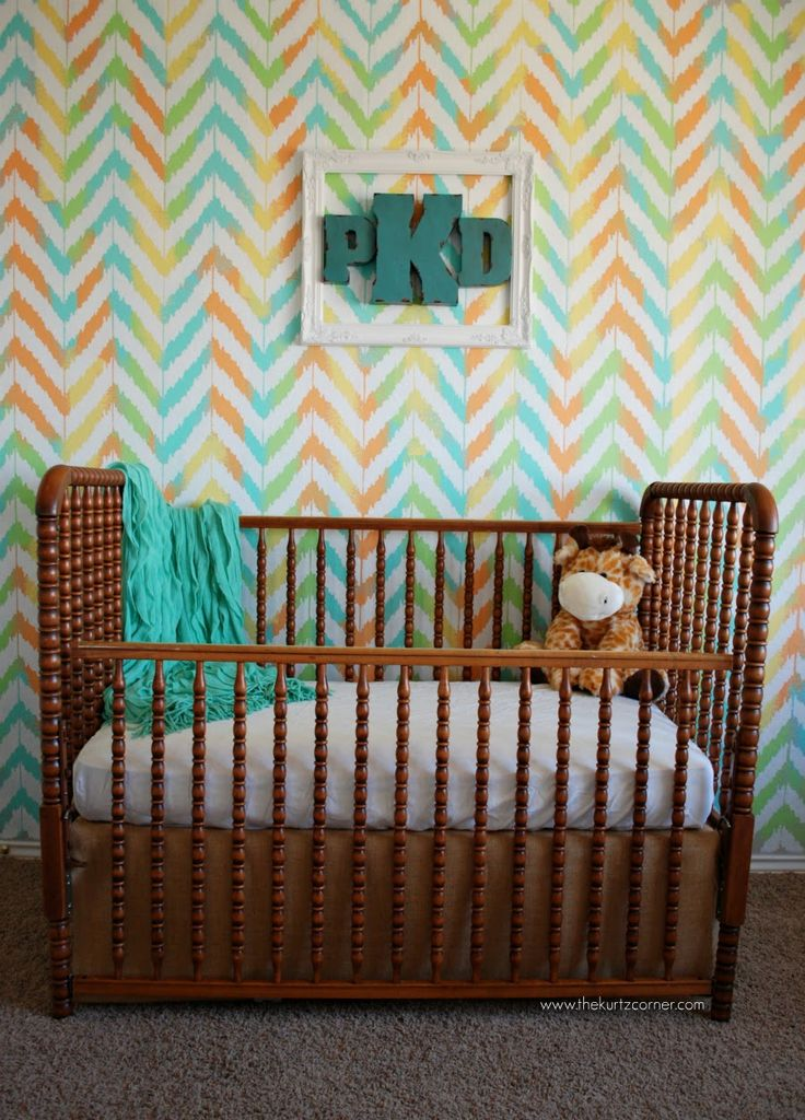 The Kurtz Corner: Painting a Gender Neutral Nursery. This is awesome, totally matches the baby blanket I am knitting for baby, might do this on a pin board or something as an accent.