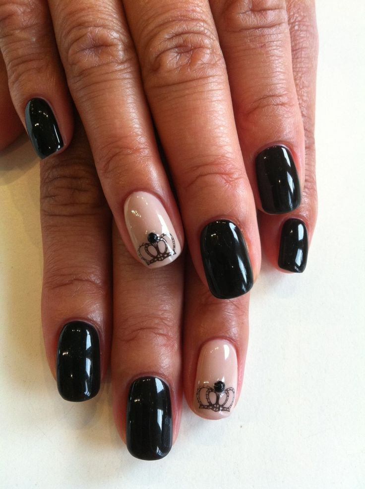 Rock some regal nails with crown prints & gems! These are Bio Sculpture Gel colours #2017 - Liquorice & #2093 - Ivory Beige