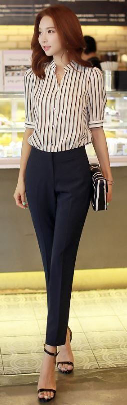 StyleOnme_Slim Fit Straight Leg Pants #navy #dress #pants #summer #daily #chic #elegant #pretty ...