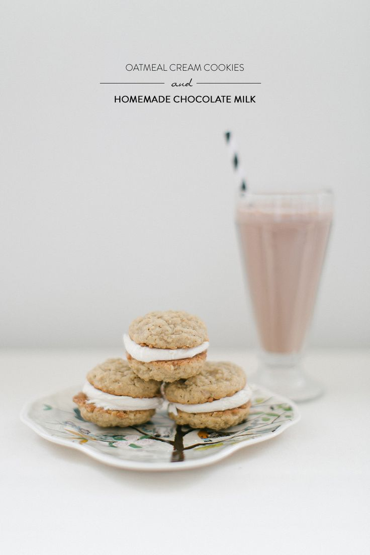 #Recipe   Oatmeal cream cookies and homemade chocolate milk? Delish. Recipe on SMP Living here: http://www.stylemepretty.com/living/2013/04/17/oatmeal-cream-cookies-homemade-chocolate-milk-from-ruth-eileen   Recipe + Photography by RuthEileenPhotography.com   #SMPLiving