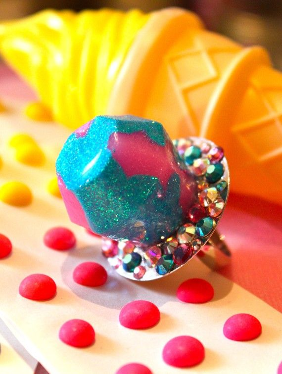 OMG Im Sooo buying this!!!  Candy Glam Cotton Candy Twist Ring Pop Ring  by athinalabella, $36.00