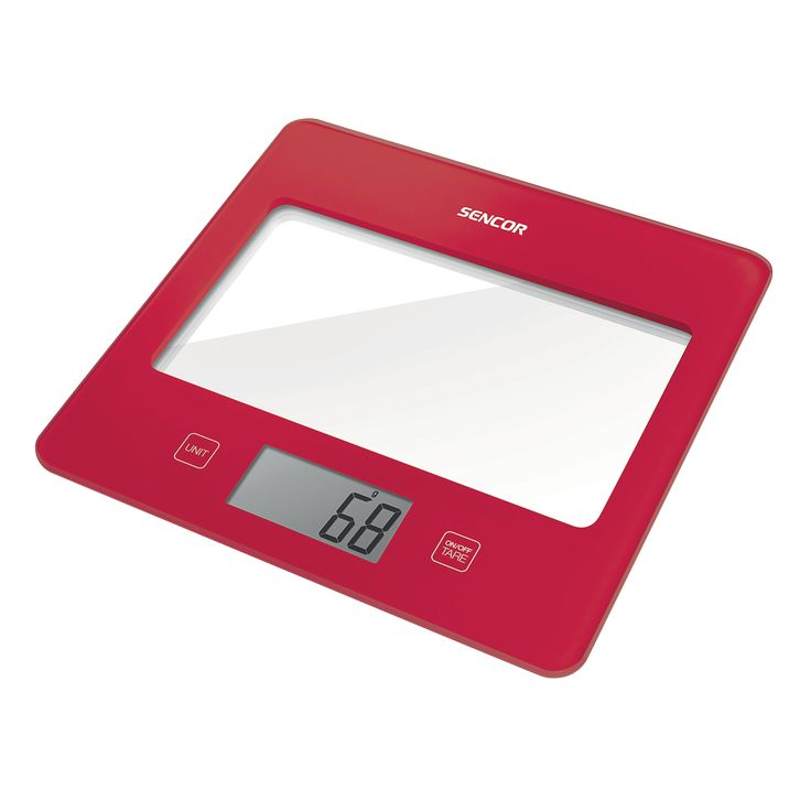 Sencor Kitchen Scale SKS 5024RD - Ultra slim design (height only 16 mm) - Large LCD display (55 x 25 mm) - Successive weighing function
