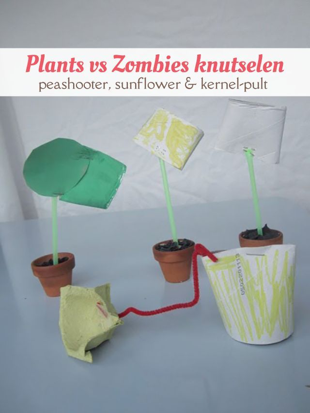 We knutselden een peashooter, sunflower en kernel-pult van Plants vs Zombies.