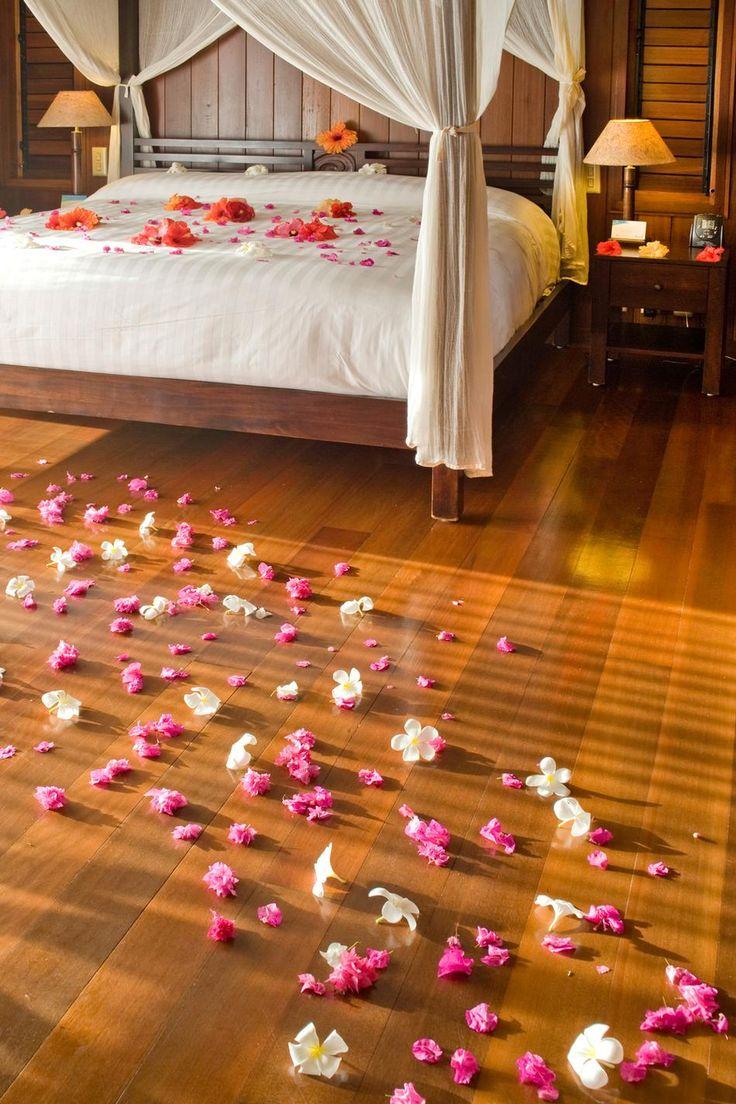 Romantic Rose Petals in an overwater bungalow in Bora Bora