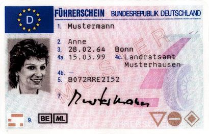 Sample German license - Fuehrerschein-Muster (article about License Reciprocity with Germany)