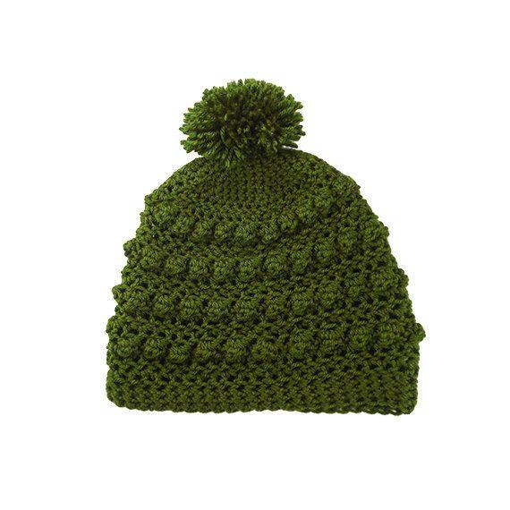 Womens Mens Bobble Pom Pom Slouchy Beanie Hat in Olive by Bucum, $25.00