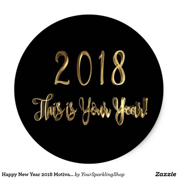 Happy New Year 2018 Motivational Black Gold