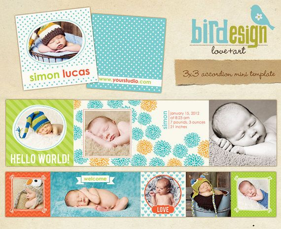 INSTANT DOWNLOAD Accordion mini template 3x3 por birdesign