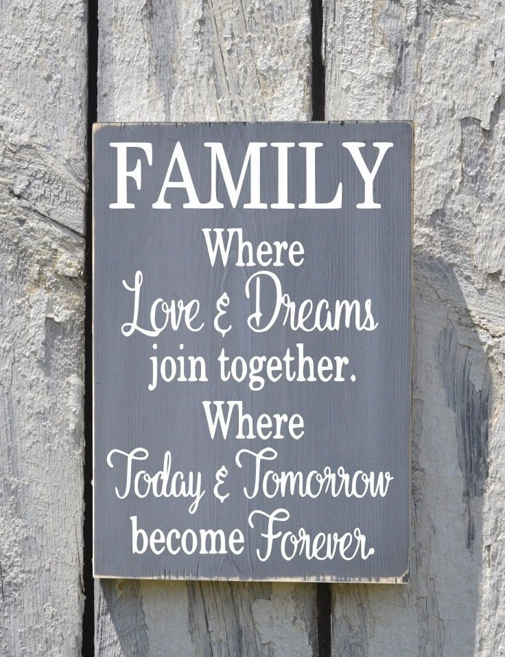 Family Sign Custom Home Decor Signs Reclaimed Wood Rustic Industrial Inspired Love Dreams Quote Kitchen Living